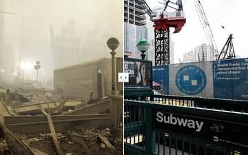 Compare imagens do centro de NY  no dia de ataques e 10 anos depois
