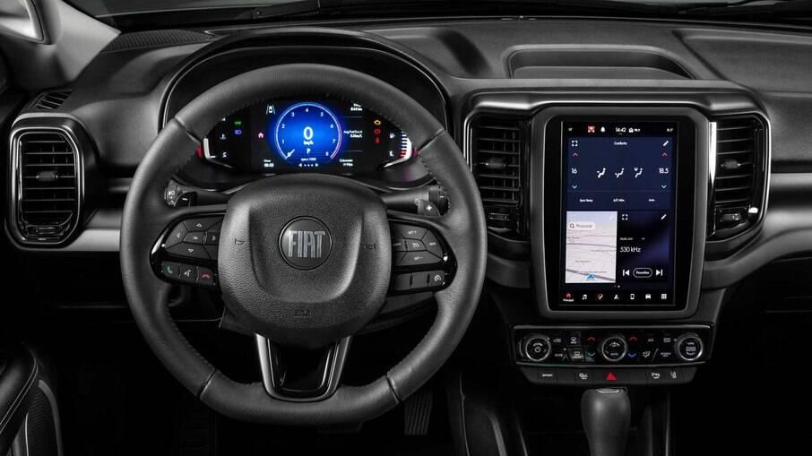 Interior com cluster digital e configurável, novos comandos e central multimídia com tela vertcal, de 10,1 polegadas