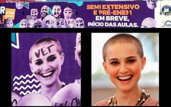 Em uma montagem de um anúncio de colégio mineiro, Natalie Portman é ilustrada como uma 'bixete de veterinária'