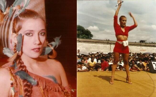 Rita Cadillac fantasiada (à esq.) e quando fazia a alegria dos presidiários