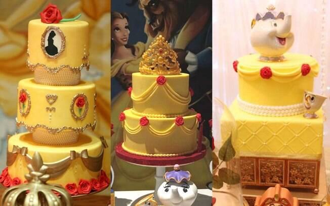 Cor amarela prevalece nos bolos para uma festa infantil cujo o tema seja o filme da Disney