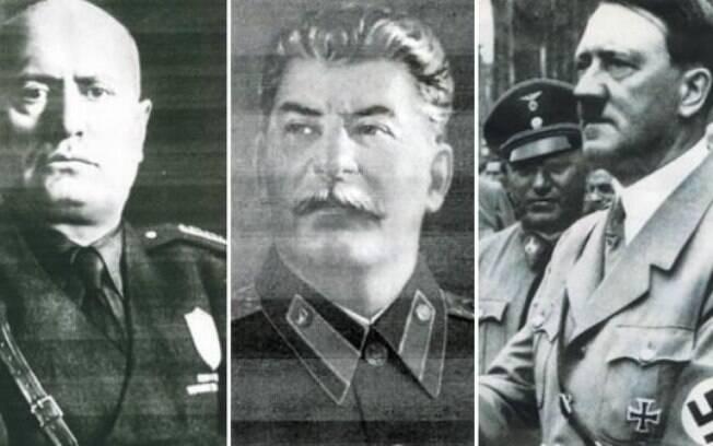 Benito Mussolini (fascista),  Josef Stalin (comunista) e Adolf Hitler (nazista) foram  líderes de matanças