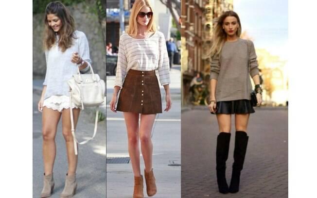 Botas de diversos modelos combinam com shorts e saias