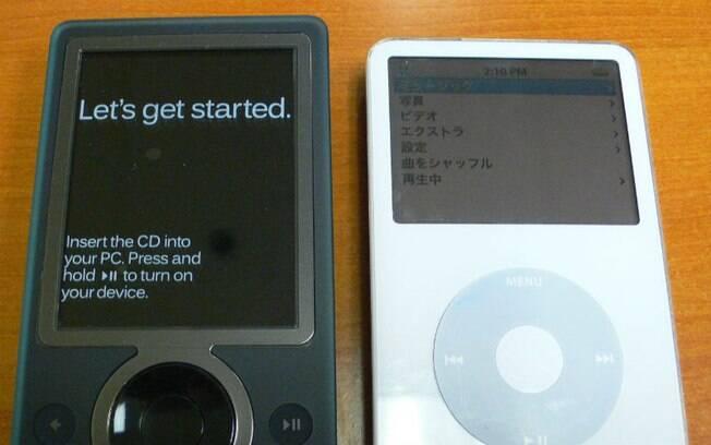 Microsoft Zune foi desenvolvido para competir com o iPod, da Apple, mas não teve a mesma popularidade