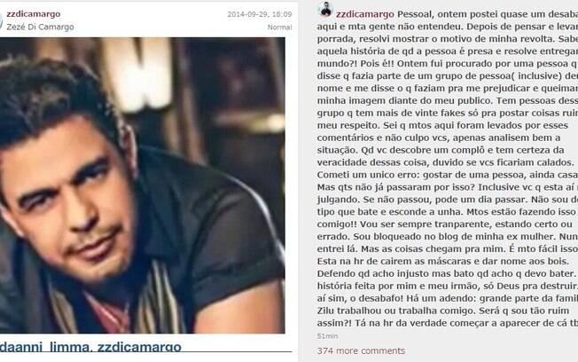 A página do Instagram com o desabafo de Zezé