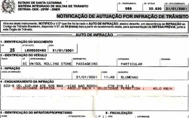 Sabia que o Volkswagen Gol 1.6 Rolling Stone consegue chegar a 4.800 km/h? É o que diz a multa recebida por um motorista de Blumenau.