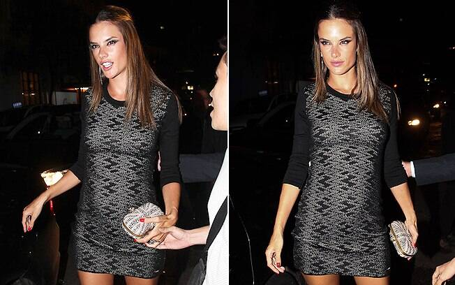 Grávida de cinco meses, top Alessandra Ambrósio exibiu suas curvas em vestido justo