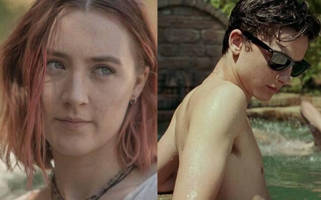 Cenas dos filmes Lady Bird (dir) e Me Chame Pelo Seu Nome (esq), ambos indicados ao Oscar 2018