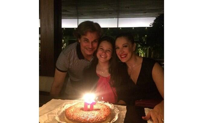 Claudia Raia e Edson Celulari comemoraram juntos o aniversário de 11 anos de Sophia