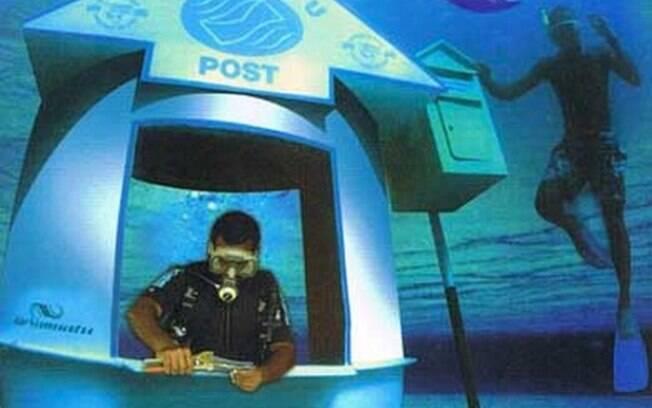 Quando um funcionário está no posto de correio, uma bóia flutua na região em que ele está submerso. Foto: Divulgação