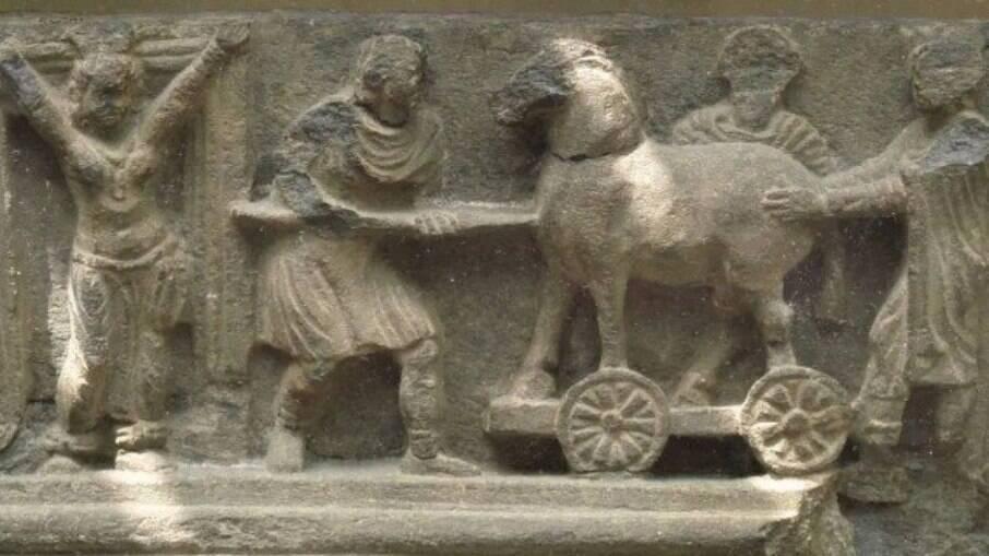 Representação do Cavalo de Troia no British Museum