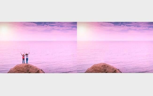 Comparação de antes e depois do processo de remover pessoas da imagem.