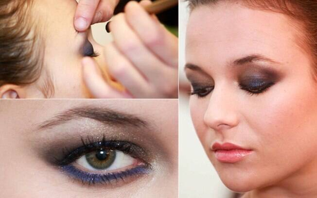O olho esfumado com dourado e azul é uma opção para criar o look noite