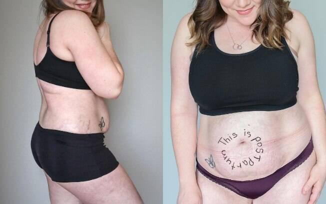 Ela conta que a relação com o próprio corpo passou a mudar após a gravidez, quando começou a se olhar de outra forma