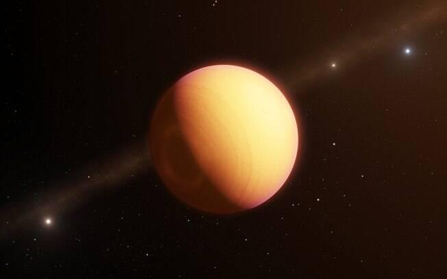 Representação artística do exoplaneta HR8799e, detectado pelos telescópios do Observatório Europeu do Sul (ESO).