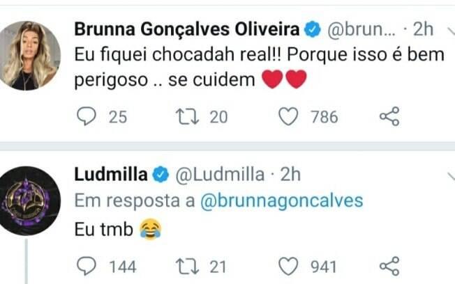 Ludmilla e Brunna Gonçalves já testaram positivo para o coronavírus