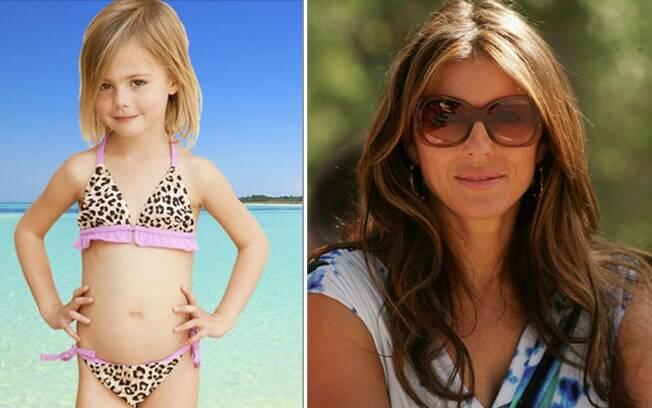 Biquíni com estampa de oncinha da linha infantil assinada pela modelo e atriz Liz Hurley