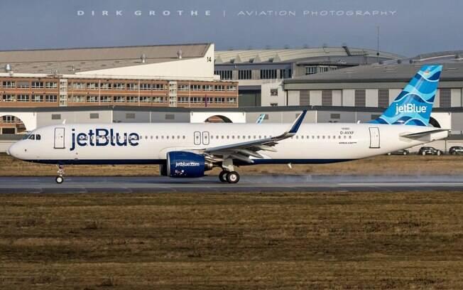 Airbus A321LR da JetBlue realiza voo teste por mais de 9 horas