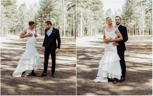 Após várias risadas, os dois resolveram entrar no papel e posaram para a fotógrafa como um casal real faria