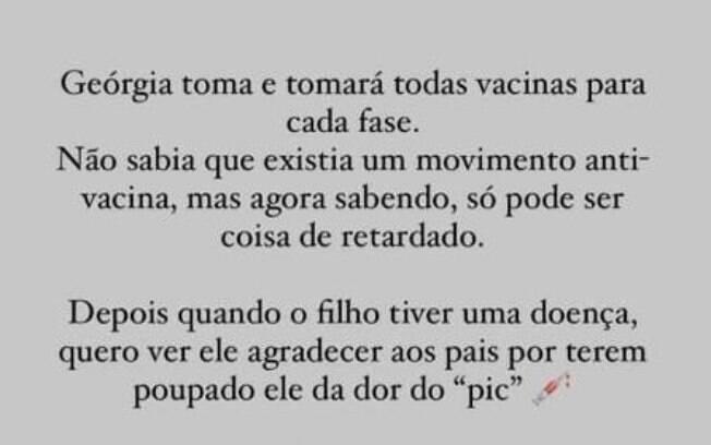 """Movimento antivacina é """"coisa de retardado"""", diz esposa de Eduardo Bolsonaro"""