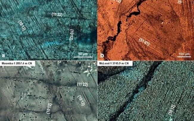 Imagens das rochas na Bacia de Warburton revelaram deformações que podem ter sido causadas por um grande impacto