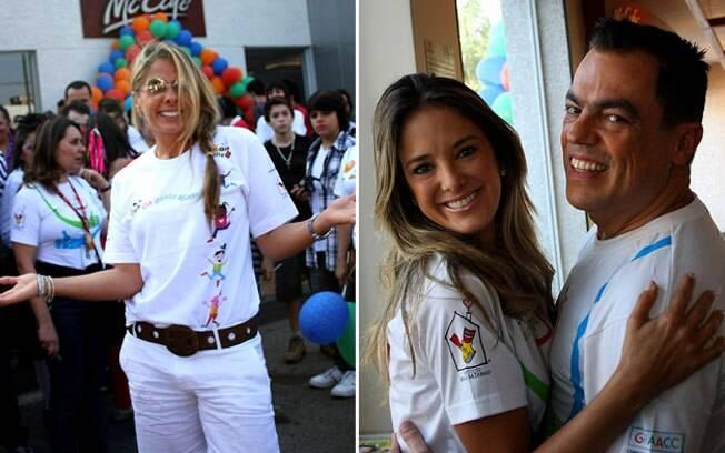 Adriane Galisteu posa para fotos, enquanto Ticiane Pinheiro abraça Marco Antônio de Biaggi