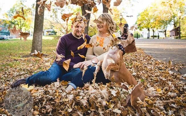 Cachorro torna fotos de noivado bem mais fofas e engraçadas.
