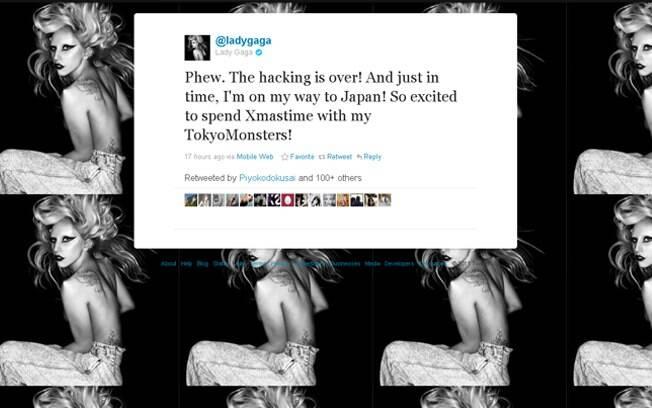Lady Gaga admitiu a ivasão de um hacker em seu Twitter