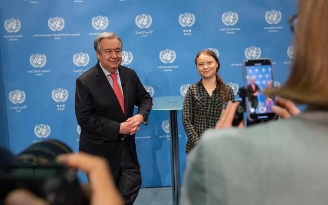 Greta Thunberg foi recebida pelo secretário-geral da ONU, António Guterrez