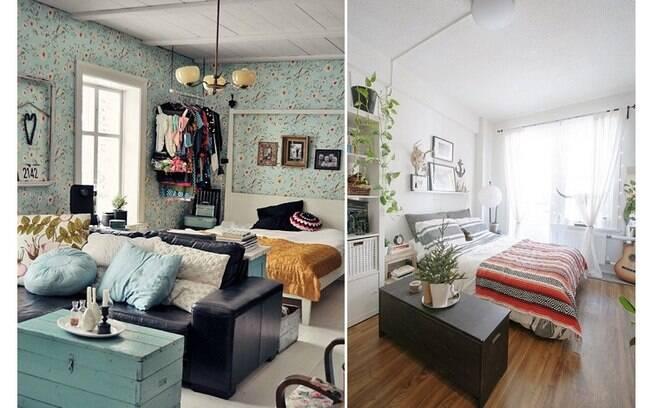 Colocar um móvel como um baú, uma estante ou um sofá ao lado ou na frente da cama também dividem o apartamento