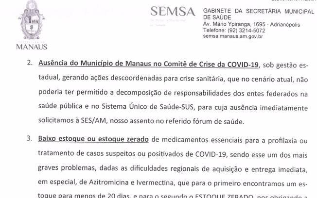 CPI da Covid: Em meio a colapso por falta de oxigênio, Manaus fez apelo por azitromicina e ivermectina ao Ministério da Saúde