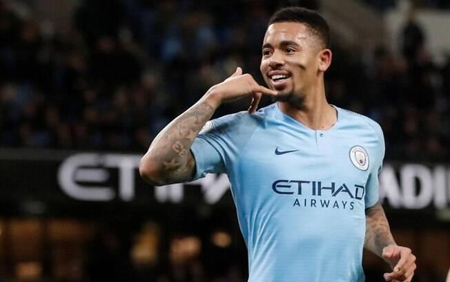Gabriel Jesus comemora gol pelo Manchester City