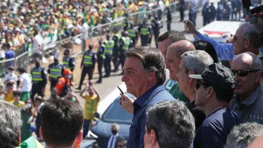 Bolsonaro em discurso na manhã desta terça-feira, 07
