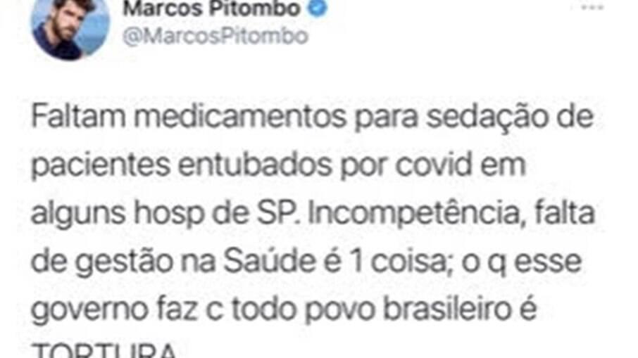 Postagem de Marcos Pitombo que foi apagada