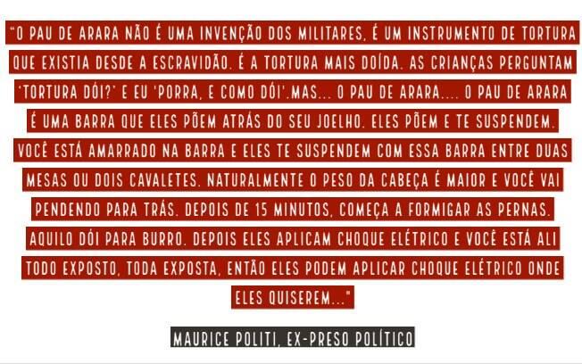 Maurice Polite explica o método de tortura do pau de arara