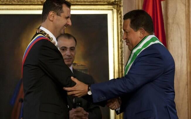 Presidente da Síria, Bashar al-Assad, tem reunião com Hugo Chávez em junho de 2010