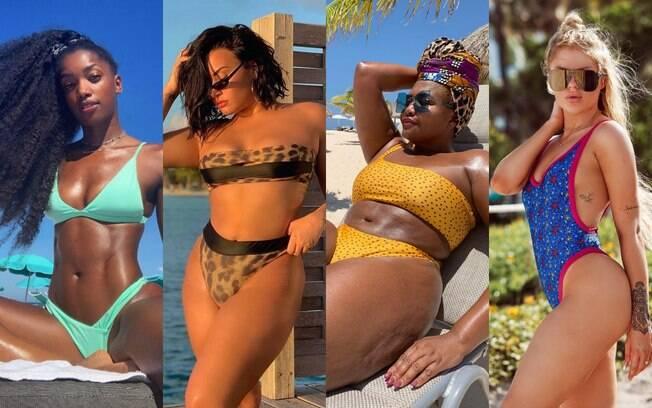 Top triângulo, neon, animal print, poá, asa delta e decotes cavados são tendências de moda praia 2020