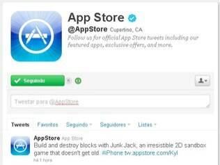 Apple criou conta da App Store no Twitter, mas só divulga aplicativos de terceiros