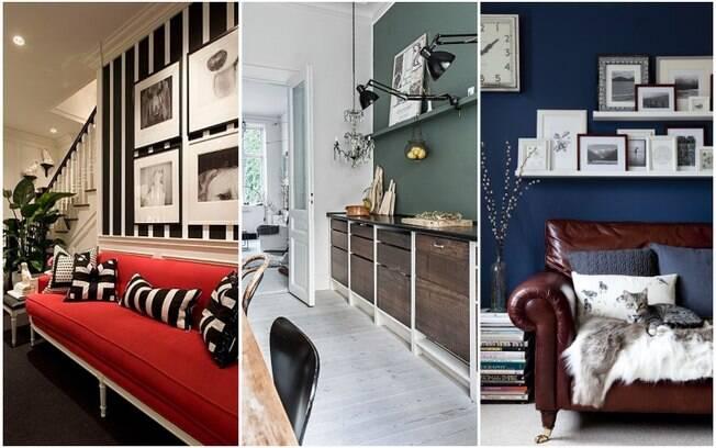 Quando combinados a cores mais neutras, tons de vermelho, verde-musgo e azul-escuro trazem profundidade aos cômodos