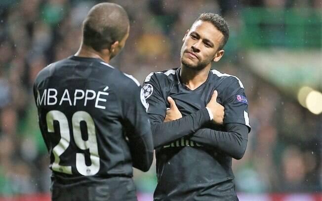 Neymar e Mbappé em aprtida do PSG pela Liga dos Campeões