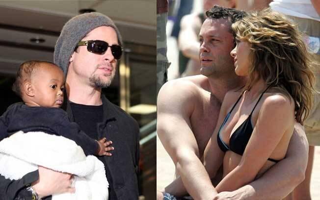 Brad Pitt poucos meses depois da separação com a filha mais nova de Angelina, Zahara, no colo; Jennifer e Vince namoram no intervalo das gravações