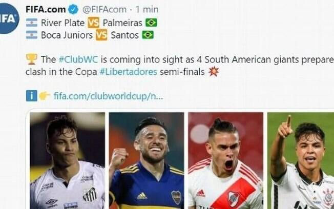 Fifa cometeu gafe em publicação sobre semifinalistas da Libertadores