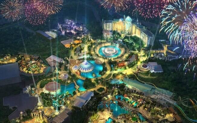 Arte conceito do Epic Universe, quarto parque da Universal, em construção novamente neste mÊs de março