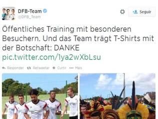 Alemães destacaram camisa com frase brasileira e presença de indígenas no treino