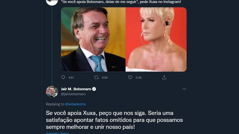 Bolsonaro rebate Xuxa no Twitter
