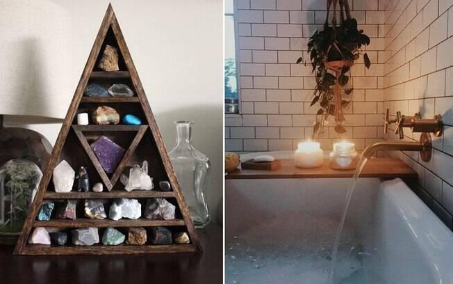 Cristais, velas aromáticas e até incensos também são boas opções na hora de deixar o banheiro mais relaxante