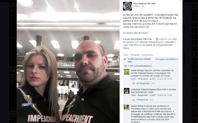 Deborah Albuquerque ao lado de Marcello Reis em uma postagem no grupo Revoltados Online