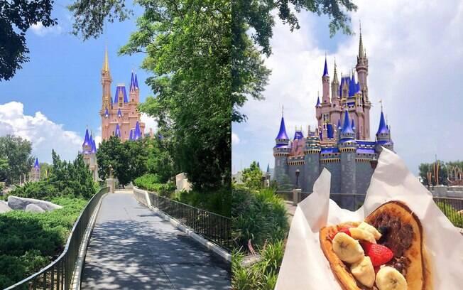 Mila Soares registrou a Main Street vazia e o castelo, que teve suas cores atualizadas em fevereiro, junto ao seu snack favorito do parque, um waffle de chocolate