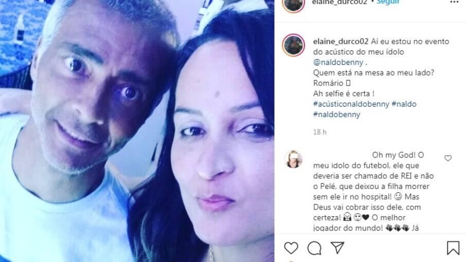 Romário posa com fãs em show de Naldo
