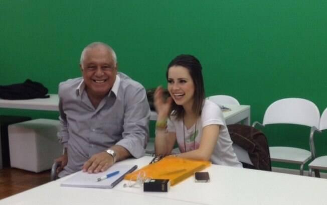 Sandy e Antônio Fagundes em sala de ensaio em Higienópolis